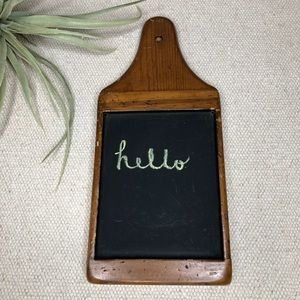 Vintage wooden hanging cutting board chalkboard